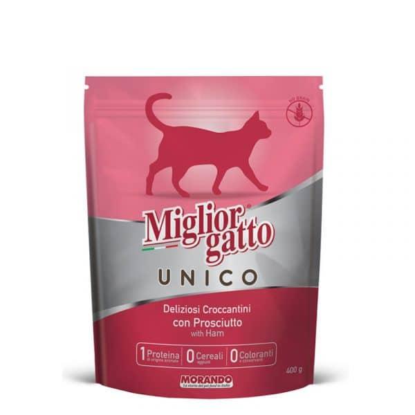 Croquettes chat Unico porc : Migliorgatto Unico100% porc, pour chats sensibles et souffrant de problèmes digestifs. Alimentation sans céréales, sans gluten