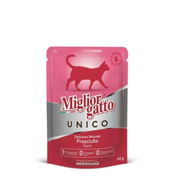 sachet fraîcheur chat 100% jambon Unico sans céréales sans gluten