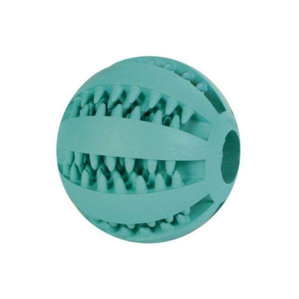 Balle pour chien en caoutchouc résistant strié, goût menthe qui facilite l'hygiène dentaire.