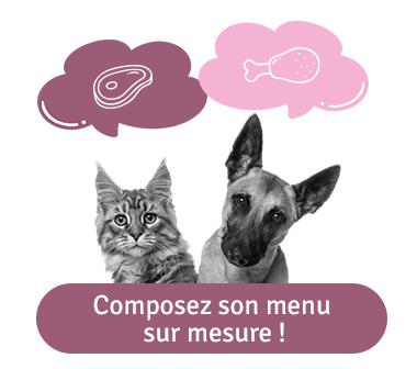 Menu chat ou chien sur mesure